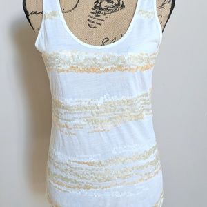 Daytrip Buckle NWT M Ivory Sequin Tank Tee Top